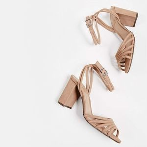 New Schutz Nicolai Leather Strappy Block Heel Nude